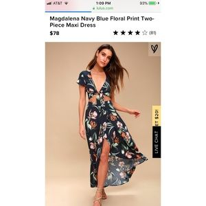 Magdalena Navy Blue Floral Print 2 piece maxi